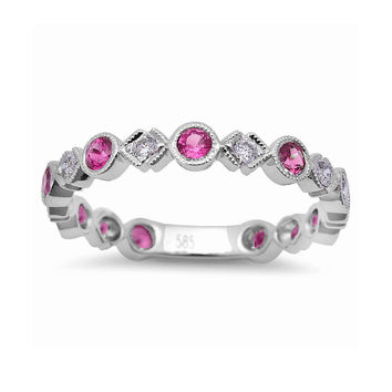 0.60tcw Pink Sapphire & Diamond in 14K White Gold Wedding Anniversary Band Ring