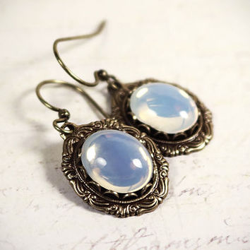 White Opal Victorian Earrings, Glass Renaissance Jewelry, Medieval Jewelry, Ren Faire Wedding, Bridesmaid Earrings, Bridal, Garb, Angelica
