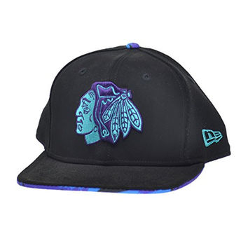 New Era Aqua Chicago Blackhawks MLB 9FIFTY Binded Snapback Cap Black/Purple ne-aqua-hook-bi-chibla-blk (Size os)