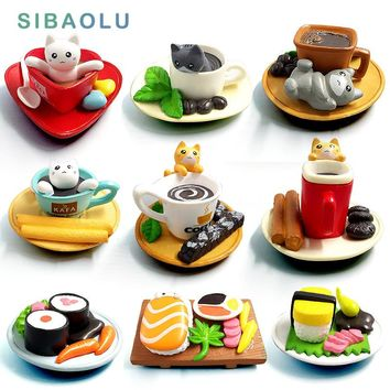 Kawaii Dessert Cat Miniature Garden Furniture Figurine Animal Home Decoration Accessories Decor Fairy Resin Craft