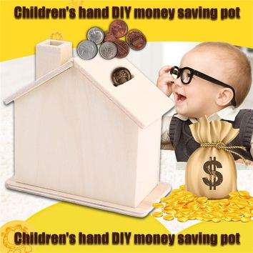2016 New Children Baby Handmade DIY Baipi Wooden Coin House Piggy Bank Chalet Save money Base Art Decor Toy Collectible Ornament