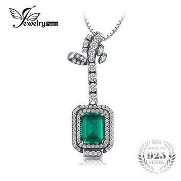 JewelryPalace New Arrival 2.93ct Created Emerald Women Pendant 925 Sterling Silver Vintage Fine Jewelry Not Include the Chain