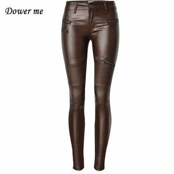 Fashion Women's Solid Brown Low-waist Elastic Pencil Pants Sexy Tight PU Coating Imitate Leather Trousers   YN315