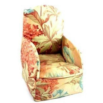 Vintage Miniature Boudoir Chair/Sewing Box Shabby Pink Chintz Print 1930s