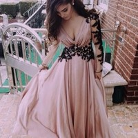 Pink Lace Grenadine Plunging Neckline Long Sleeve Boho Evening Cocktail Party Prom Beach Dress
