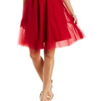 Red Tulle Full Midi Skirt by Charlotte Russe