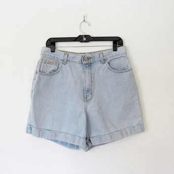 Vintage 1990s Calvin Klein Cuffed Jean Shorts / Light Blue Denim