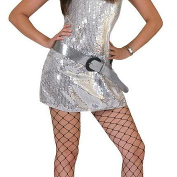 Disco Dress Silver Adult Large costume for Women