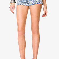 FOREVER 21 Bandana Print Denim Shorts Denim/Cream