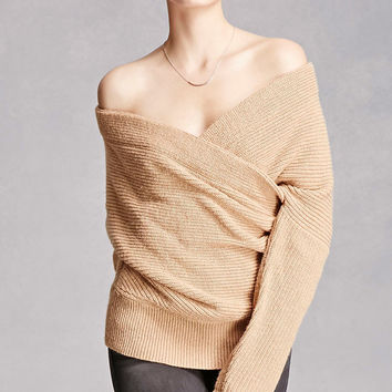 Wool-Blend Surplice Sweater