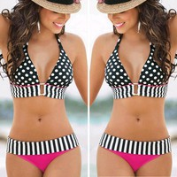 Sexy Women Halter V Collar Pink Bikini Polka Dot Stripe Print Two Piece Bikini Swimwear I