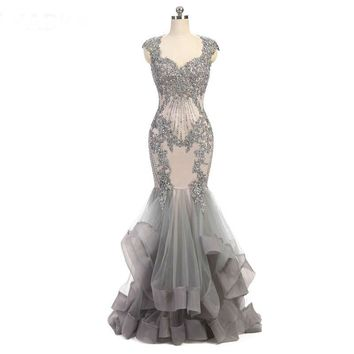 Sweetheart Mermaid Evening Dress Beads Mermaid Dress Long Elegant Prom Dresses Gray Tulle Prom Dress
