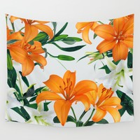 Glorious Lilies Wall Tapestry by Tamsin Lucie