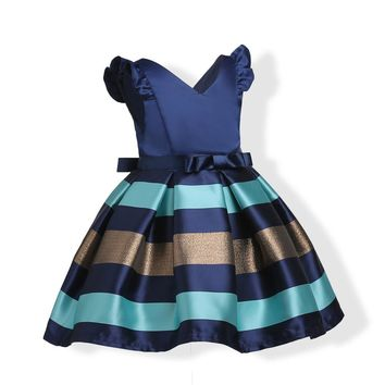 Baby Girls Striped Dress For Girls Formal Wedding Party Dresses Kids Princess Christmas Dress costume Children Girls Clothing 1