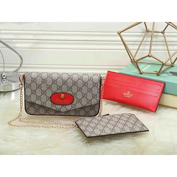 Gucci Women Leather Buckle Crossbody Card Bag Shoulder Bag Wallet Purse Set Three Piece