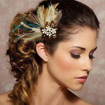 Bohemian Wedding, Feather Fascinator, Ivory Hair Clip, Mint Green, Mocha, Vintage Rhinestone - Made to Order - CLAUDETTE