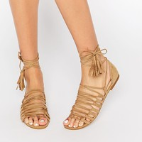 New Look   New Look Strappy Detail Tie Up Flat Sandals at ASOS