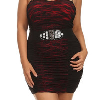 Lace Spaghetti Strap Bodycon Belted Dress - Blue - Plus Size