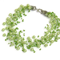 Light Green Necklace. Wedding Necklace. Bridesmaid Necklace. Beadwork.  Multistrand Necklace.