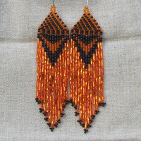 Beaded Native American Earrings  Inspired.  Black Orange Earrings. Dangle  Earrings.Long Earrings.  Beadwork.