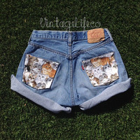 Vintage High Waisted Kitty Jean Shorts Cat Print Back Pockets All Sizes Available