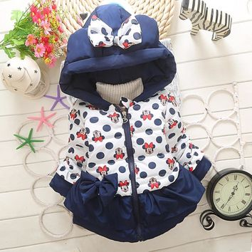 Trendy New Baby Boys Girls Minnie Coat Kids Cotton Warm Winter Jacket Chirdren Character Lovely Hoodies Outerwear For 1-4 Years Old AT_94_13