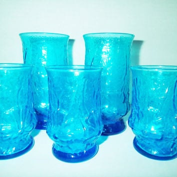 Glassware Anchor Hocking Rainflower glasses Aqua / TurquoiseSet of 5 - Three 6 oz Juice glasses and two 12 oz water glasses