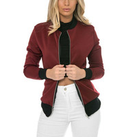 Autumn  Bomber Jacket Classic Style Zip Up Biker Vintage Stylish Coat For Women