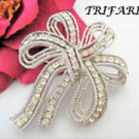 Trifari Rhinestone Brooch, Double Bow Shape, Clear Rhinestones,  Statement Brooch