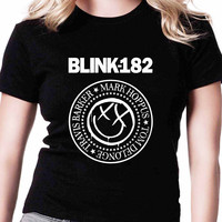 Blink 182 As Ramones Logo TV Womens T Shirts Black And White