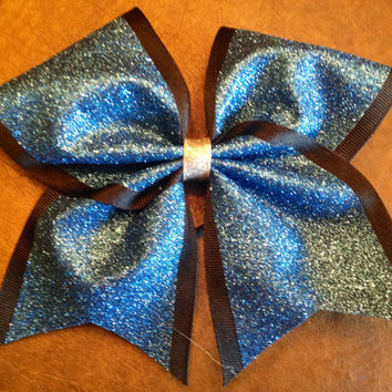 """3"""" Luxury Cheer Bow - Black and Blue Glitter"""