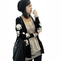 Amazon.com: Black Cotton Blend Skull Skeleton Punk Long Sleeve Knitted Cardigan Sweater Tops: Clothing
