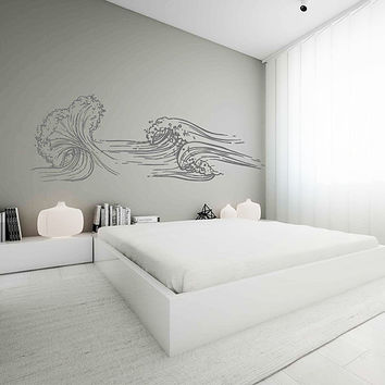 wave Wall Decals Ocean Wave Wall Decals Ocean beach Waves Wall Stickers Ocean Wall Decals sea Wall Decal Stickers for Bedrooms kik3419