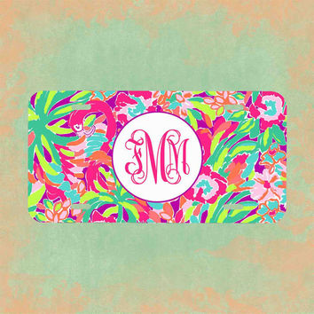 Monogrammed License plate -  Lilly Pulitzer Inspired , Personalized Monogrammed License Plate Car Tag