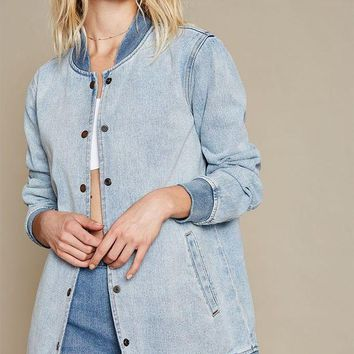 CREYON PacSun Denim Snap Front Baseball Jacket
