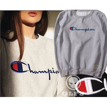 Champion Retro sweater embroidered men and women summer long sleeves tide cashmere