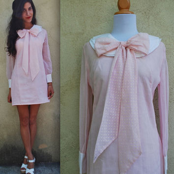 Vintage 60s 70s Starboard Pink Sailor Dress (size small, medium)
