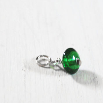 Forest Green Glass Bead Charm - vintage geometric geo beaded charm triangle - design your necklace - build your own customized jewelry