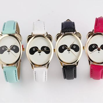Panda Face Watch Fashion Gender Neutral Diamond Lovely V Leather  Watches