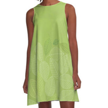 'LEAVES ENSEMBLE GREENERY' A-Linien Kleid by Pia Schneider