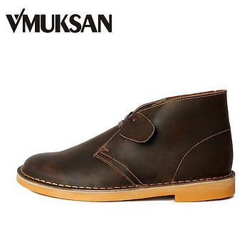 Men's Boots Leather Shoes Classic Lace-Up Rubber Booties Beeswax Men Desert Boot