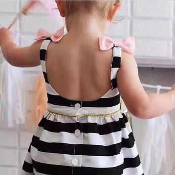 Baby Girls Dress Summer  Stripe Dress Baby Dressing for Party Holiday Black and White with Bow Kids Clothes Girls Cute Brand