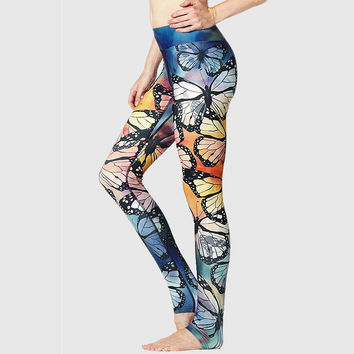Casual Butterfly Print Yoga Pants Sports Stretch Hip Up Gym Leggings [10182759431]