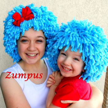 Thing 1 Thing 2 Wigs Bright Blue Wigs- Red Bow- Halloween Costumes