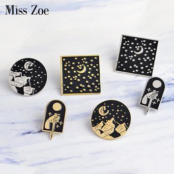 Trendy Miss Zoe Starry pins Moonlight dagger moon star mountain Brooch Denim Jacket Lapel Pin Set Black Badge Fashion Gift for Friend AT_94_13