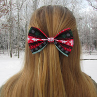 Red and Green Snowflake Winter Holiday Hair Bow
