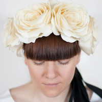 Wedding Flower crown, band for head, waistband, shoulder BEIGE