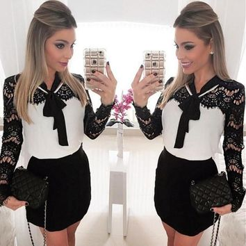 Womens Fashion Long Sleeve Black&white Lace Patchwork Casual Party Bodycon Mini Dress [8321422407]
