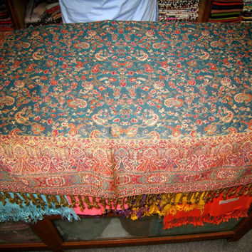 Afghan Traditional Cashmere Blanket 9x7 Green