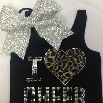 I Love Cheer Rhinestone Tank Top with bow